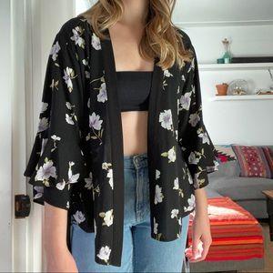 Forever 21 | ruffle sleeve kimono wrap blouse